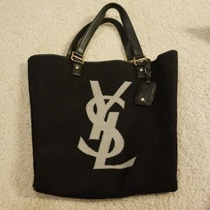 Authentic ysl felt bag /black soft leather handles